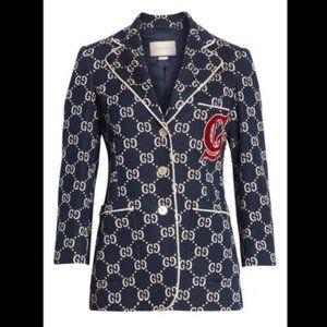 Gucci GG Embroidered Jersey Blazer, Blue